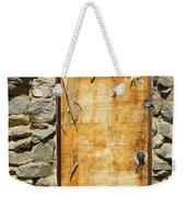 Old Wood Door And Stone - Vertical  Weekender Tote Bag