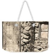 Old Wood Door Window And Stone In Sepia Black And White Weekender Tote Bag