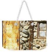 Old Wood Door Window And Stone Weekender Tote Bag