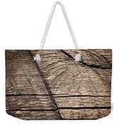 Old Wooden Board With Notches By Sawing Weekender Tote Bag
