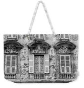 Old Yellow Building With Lace Curtain In Nice, France, Black And Weekender Tote Bag