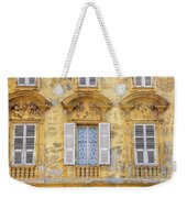 Old Yellow Building With Lace Curtain In Nice, France Weekender Tote Bag