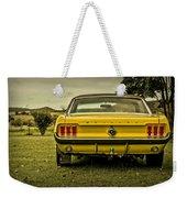 Old Yellow Mustang Rear View In Field Weekender Tote Bag