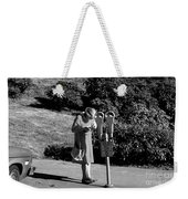 Older Woman Paying Parking Meter Weekender Tote Bag
