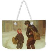 On The Way To School In The Snow Weekender Tote Bag