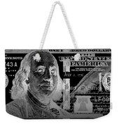 One Hundred Us Dollar Bill - $100 Usd In Silver On Black Weekender Tote Bag
