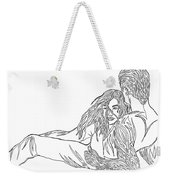 One Line Drawing Lovers On The Beach Weekender Tote Bag