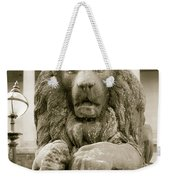 One Of Four Lion Statues Outside St George's Hall Liverpool Weekender Tote Bag