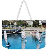 One-person Sailboats By The Commercial Pier In Monterey-california Weekender Tote Bag