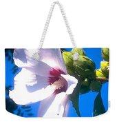 Open Hibiscus Flower With Deep Blue Sky Weekender Tote Bag
