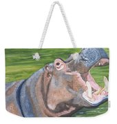 Open Mouthed Hippo On Wood Weekender Tote Bag