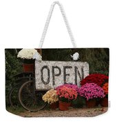 Open Sign With Flowers Fine Art Photo Weekender Tote Bag