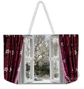 Open Window With Winter Scene Weekender Tote Bag