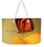 Orange And Black Butterfly Sitting On The Yellow Petal Weekender Tote Bag