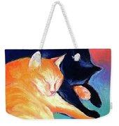 Orange And Black Tabby Cats Sleeping Weekender Tote Bag