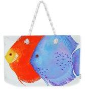 Orange And Blue Discus Fish Weekender Tote Bag
