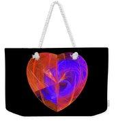 Orange And Blue Fractal Heart Weekender Tote Bag