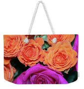 Orange And White With Pink Tip Roses Weekender Tote Bag