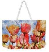 Orange And Yellow Tullips With Blue Sky Weekender Tote Bag