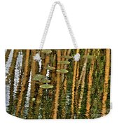 Orange Bamboo Abstract, Reflection On Water Weekender Tote Bag