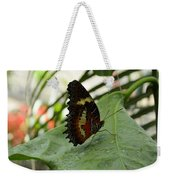 Orange Black Butterfly Weekender Tote Bag