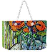 Orange Bloom - Textured Impressionist Palette Knife Oil Painting Mona Edulesco Weekender Tote Bag
