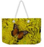 Orange Butterfly On Yellow Mums Weekender Tote Bag