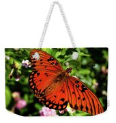 Orange Butterfly Weekender Tote Bag by Valeria Donaldson