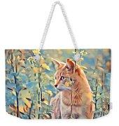 Orange Cat In Field Of Yellow Flowers Weekender Tote Bag