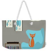 Orange Cat In Turquoise Egg Chair Weekender Tote Bag