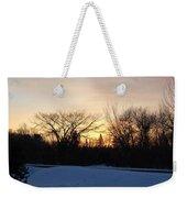 Orange Dawn Sky Behind Trees Weekender Tote Bag