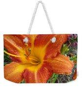 Orange Daylily With Dew Weekender Tote Bag