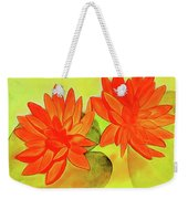 Orange Waterlily Watercolor Painting Weekender Tote Bag