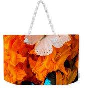 Orange Glads With Two Butterflies Weekender Tote Bag
