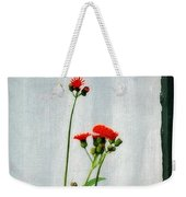 Orange Hawkweed Over Gray Muslin Weekender Tote Bag