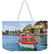 Orange Lifeboats Across Colorful Bay Weekender Tote Bag
