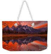 Orange Skies Over The Tetons Weekender Tote Bag