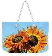 Orange Sunflowers Summer Blue Sky Art Prints Baslee Weekender Tote Bag