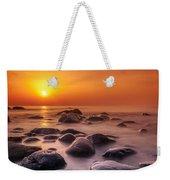Orange Sunset Long Exposure Over Sea And Rocks Weekender Tote Bag