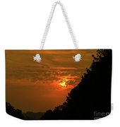 Orange Sunset With Tree Silhouette Weekender Tote Bag