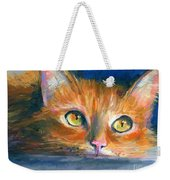 Orange Tubby Cat Painting Weekender Tote Bag by Svetlana Novikova