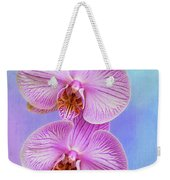 Orchid Delight - Two Blooms Against A Rainbow Background Weekender Tote Bag