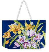Orchids In Blue Weekender Tote Bag by Lucy Arnold