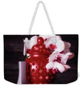 Orchids With Red And Gray Weekender Tote Bag