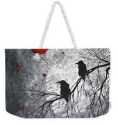 Original Abstract Surreal Raven Red Blood Moon Painting The Overseers By Madart Weekender Tote Bag