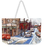 Original Montreal Paintings For Sale Tableaux De Montreal A Vendre Pointe St Charles Scenes Weekender Tote Bag