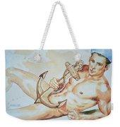 Original Watercolor Painting Artwork Sailor Male Nude Man Gay Interest On Paper #9-015 Weekender Tote Bag