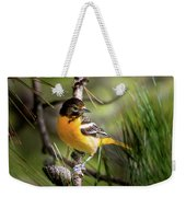 Oriole And Pine Cone Weekender Tote Bag