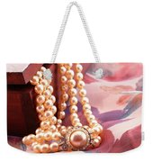 Ornate Box Carved And Pearl Necklace Detail Weekender Tote Bag