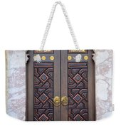 Ornately Decorated Wood And Brass Inlay Door Of Sarajevo Mosque Bosnia Hercegovina Weekender Tote Bag